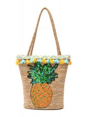 Ananaslı Hasır Çanta