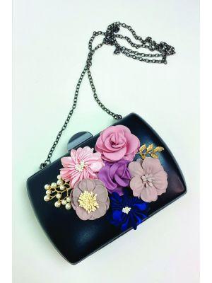 Çiçekli Siyah Clutch Çanta