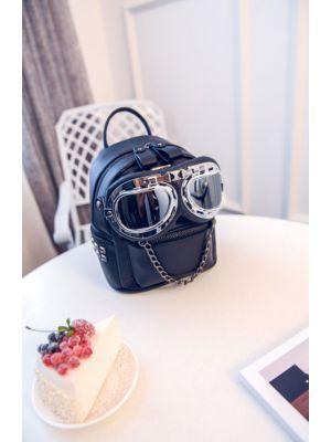 Gözlüklü Siyah Mini Sırt Çantası