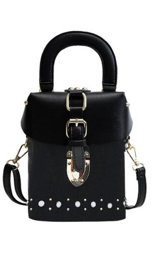 Kırçıllı Siyah Vintage Kutu Çanta