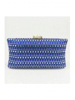 Taşlı Mavi Abiye Clutch Çanta