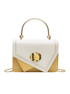 Asimetrik Sarı-Beyaz Mini Çanta