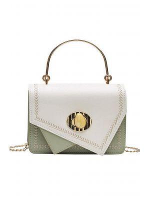 Asimetrik Yeşil-Beyaz Mini Çanta