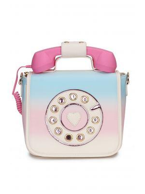 Retro Pembe-Mavi Telefon Şeklinde Çanta