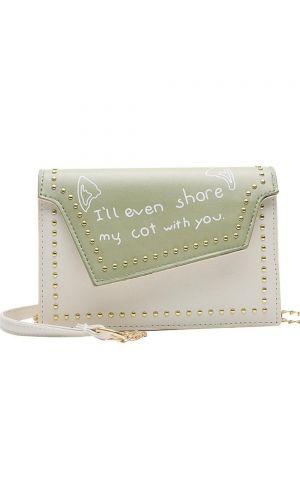 Asimetrik Yeşil-Beyaz Cat Çanta