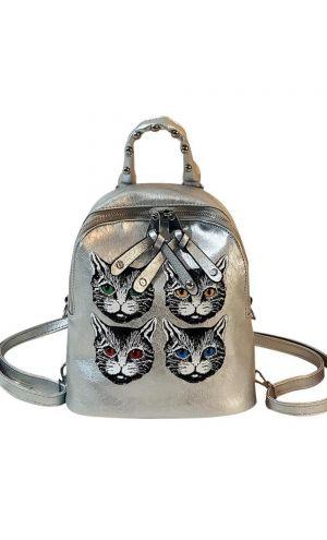 Kedili Gümüş Omuz ve Sırt Çantası