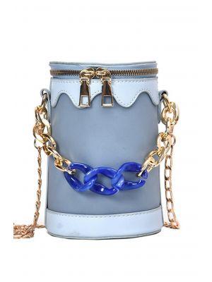 Mavi Mini Silindir Çanta