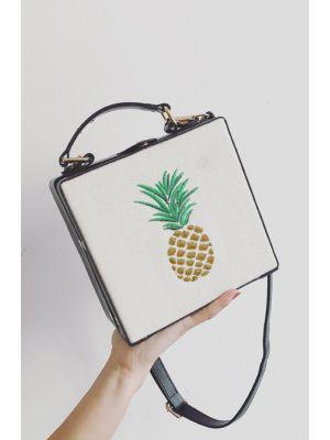 Ananas Nakışlı Siyah Kutu Çanta
