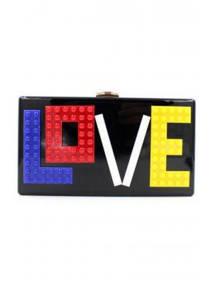 Lego Love Yazılı Siyah Clutch Çanta