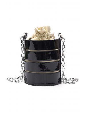 Siyah Kafesli Silindir Çanta