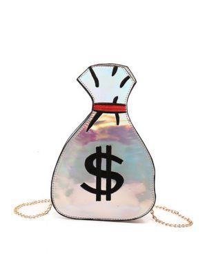 Dolar Kesesi Şeklinde Gümüş Çanta
