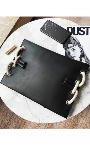 Halatlı Siyah Clutch Çanta