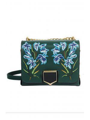 Mavi Çiçek Deseni İşlemeli Yeşil Çanta