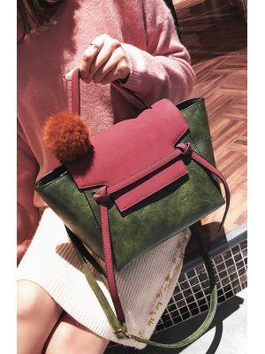 Ponponlu Bordo-Yeşil Çanta