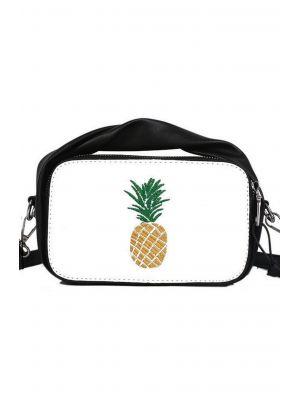 Ananas Nakışlı Siyah-Beyaz Çanta